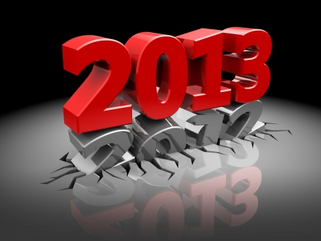 3d illustration of new year sign over dark background