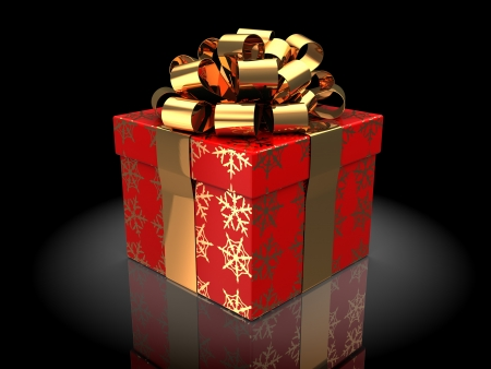 red gift box: 3d illustration of christmas gift, over dark background
