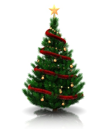 christmas trees: 3d illustration of christmas tree over white background