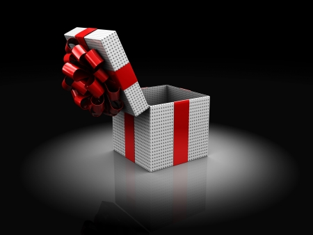 3d illustration of opened christmas present box, over dark background illustration