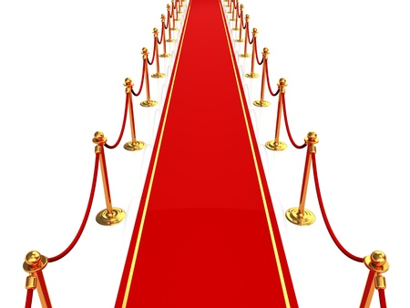 3d illustration of red carpet, top view illustration
