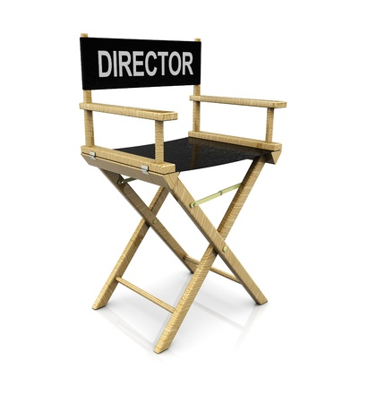film director: 3d illustration of cinema director chair over white background Stock Photo