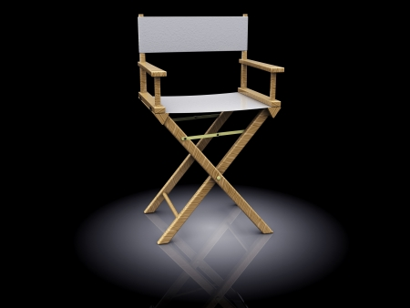 3d illustration of director chair, white color, over black background illustration