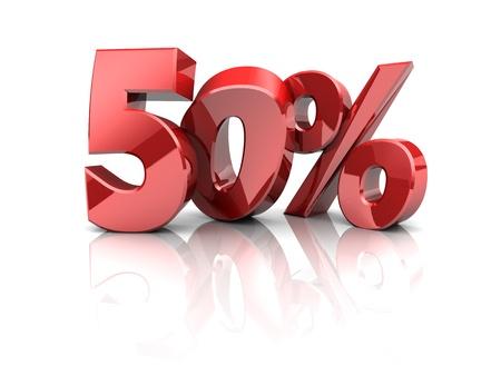 sell off: 3d illustration of 50 percent discount symbol
