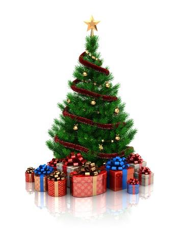 fir tree balls: 3d illustration of christmas tree over white background