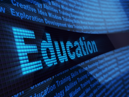 computer education: abstract 3d illustration of education sign, over digital blue background