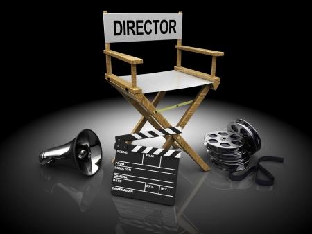 filmregisseur: 3d illustratie van filmmaker apparatuur op zwarte achtergrond Stockfoto