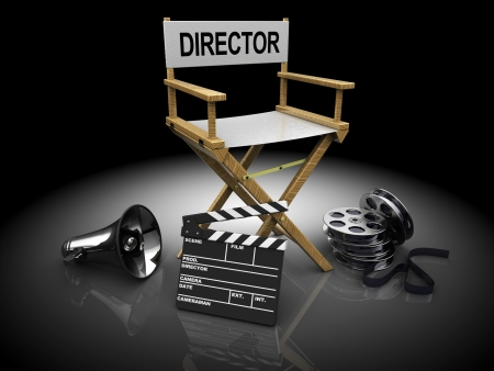 movie clapper: 3d illustration of filmmaker equipment over black background