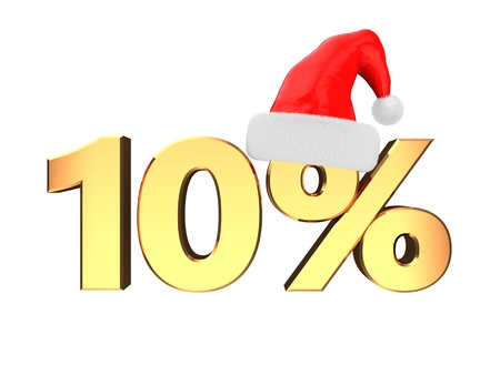 10 month: 3d illustration of christmas sale sign, over white background