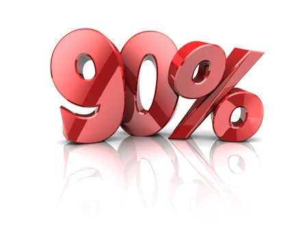 bank rate: 3d illustration of 90 percent discount symbol