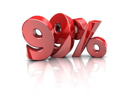 99: 3d illustration of 99 percent sign, discount symbol