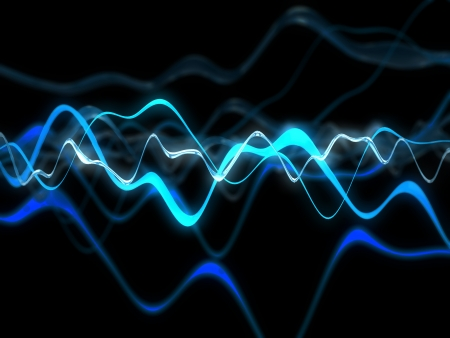 3d illustration of glowing electric waves over black background illustration
