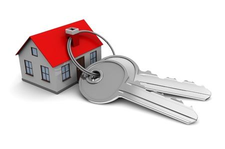 key ring: 3d illustration of keys and house, over white background Stock Photo