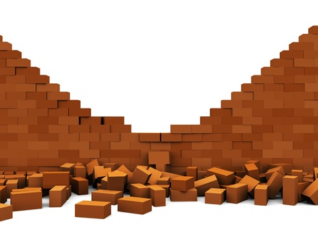 destroy: 3d illustration of broken brick wall, over white background Stock Photo