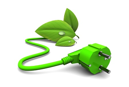 energy conservation: 3d illustration of green energy concept, over white background