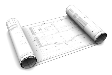 building plans: 3d illustration of blueprint roll, over white background