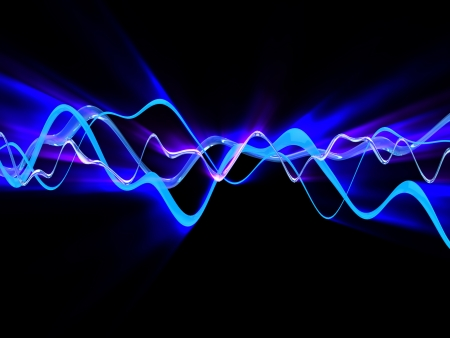 audio wave: 3d illustration of shining electric waves Stock Photo
