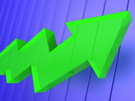 3d illustration of green arrow over blue background, business concept Stock Illustration - 18172780