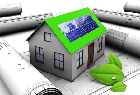 energ�as renovables: Ilustraci�n 3D de dise�o de la casa con panel solar Foto de archivo