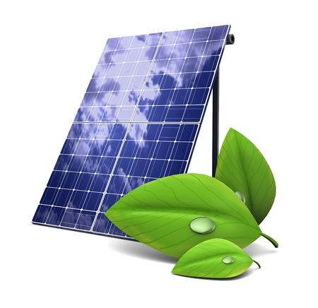 Ilustración 3d del panel solar y de la hoja verde, concepto de energía ecológica Foto de archivo - 18172774