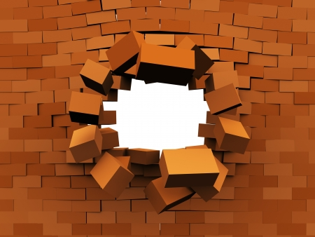 demolition: 3d illustration of brick wall demolition, over white background Stock Photo