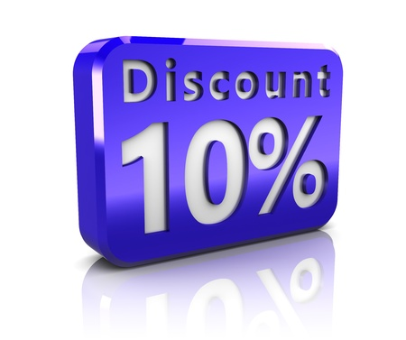abstract 3d illustration of 10 percent discount sign illustration