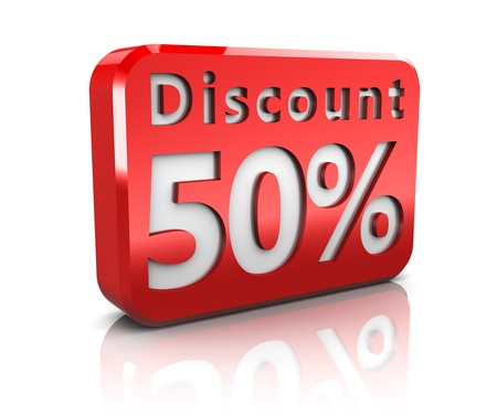 abstract 3d illustration of 50 percent discount sign illustration