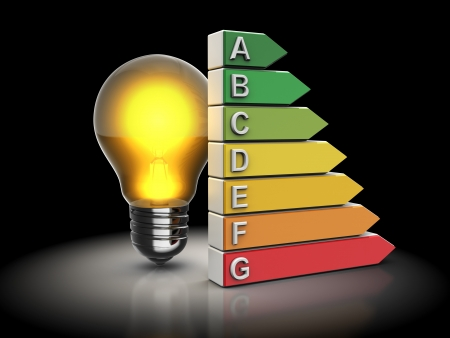 norm: 3d illustration of lamp and energy efficiency chart, over black background Stock Photo