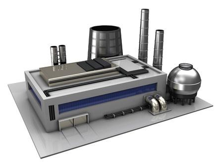 industria quimica: Ilustraci�n 3D de edificios industriales o de f�brica sobre fondo blanco Foto de archivo
