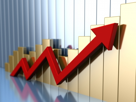 abstract 3d illustration of business chart with red arrow illustration