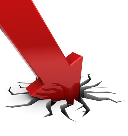 moving down: 3d illustration of red arrow graph in crack, over white background Stock Photo