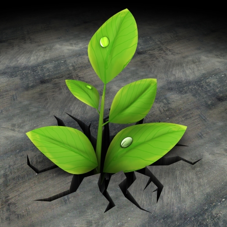 breaking new ground: abstract 3d illustration of green plant growing in asphalt