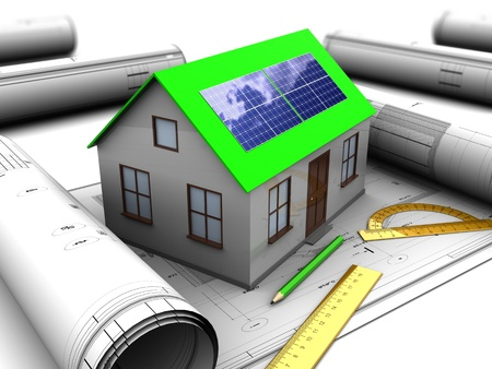 3d illustration of house with solar panel and blueprints