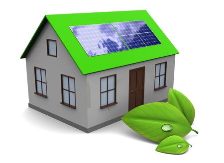3d illustration of house with green leaf, over white background Stock Photo