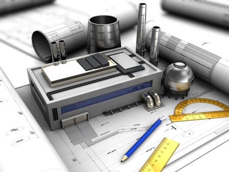 metal drawing: abstract 3d illustration of factory design concept