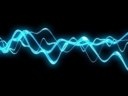 sound wave: 3d illustration of electric waves background