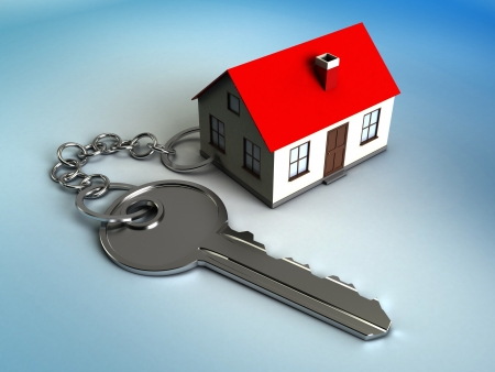 3d illustration of house model with key, own home concept illustration