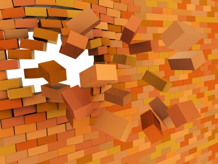 rebuild: 3d illustration of broken brick wall