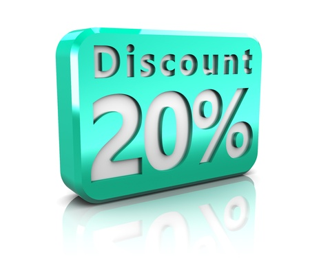 abstract 3d illustration of 20 percent discount sign illustration