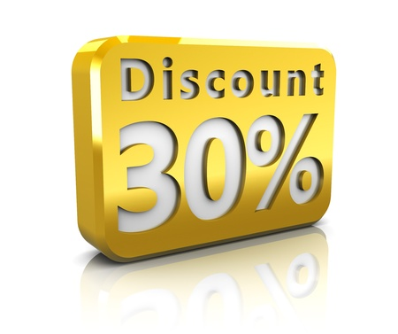 perks: abstract 3d illustration of 30 percent discount sign