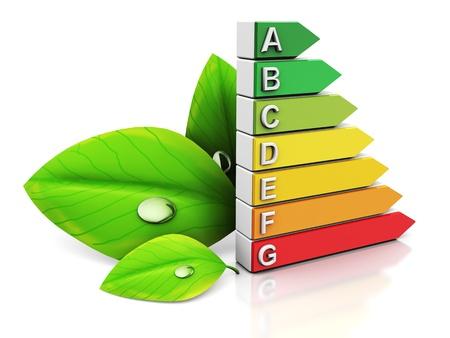 energy efficient: 3d illustration of energy efficiency symbol and green leaf