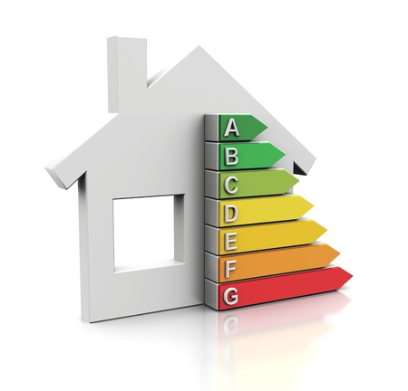 energy performance certificate: 3d illustration of house with energy efficiency symbol Stock Photo