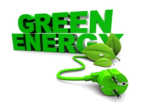 environmentalist label: 3d illustration of green energy sign over white background Stock Photo
