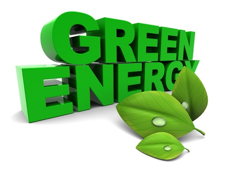 3d illustration of green energy sign, over white background illustration