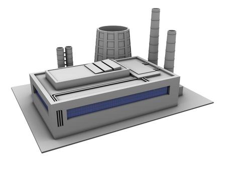 3D Darstellung der einzelnen Fabrikgebäude, über weißem Hintergrund Standard-Bild - 18685887