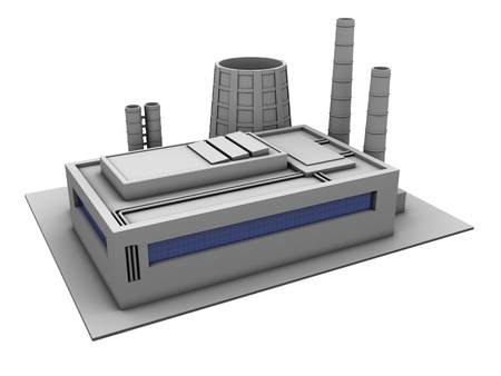 3d illustration of single factory building, over white background illustration