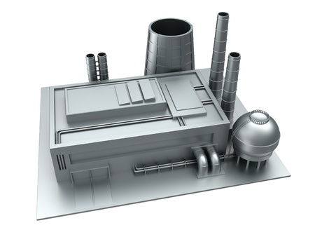3d illustration of factory building, steel material illustration