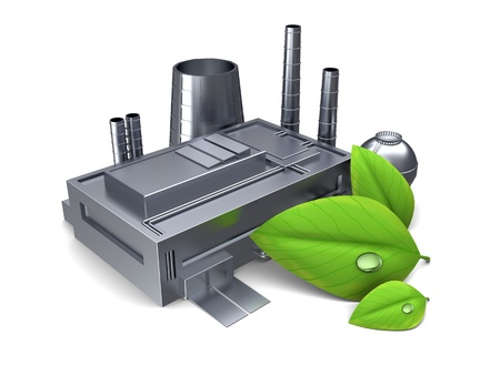 3d illustration of factory building with green leaf, over white background illustration