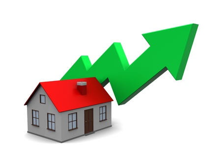 abstract 3d illustration of house with green arrow, real estate price rising concept Stock Illustration - 18685847
