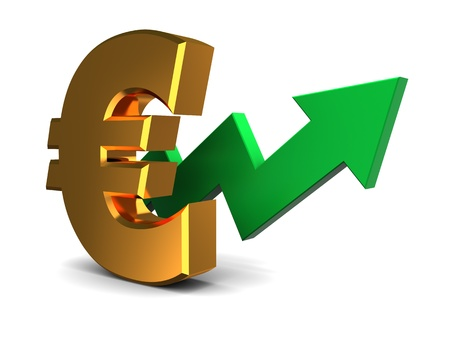 abstract 3d illustration of euro rising graph Stock Illustration - 18685851